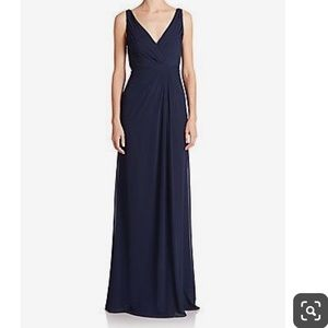 Monique Lhuillier Navy Long Bridesmaid Dress New